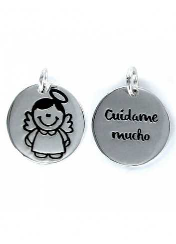 Colgante Disco My Life Mujer 9087099 Plata Angelito Cuidame Mucho 18mm