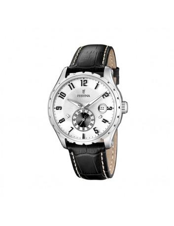 Reloj Festina Hombre F16486/1 Calendario Correa Piel Negra Esfera Blanca
