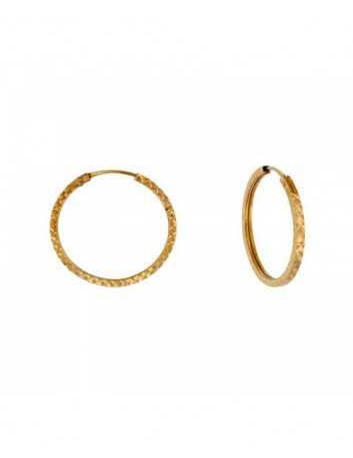 Argollas Oro 18 Kilates  Mujer y Niña 1-09481/16T Tubo Cuadrado Tallado 16 x 1.5 mm