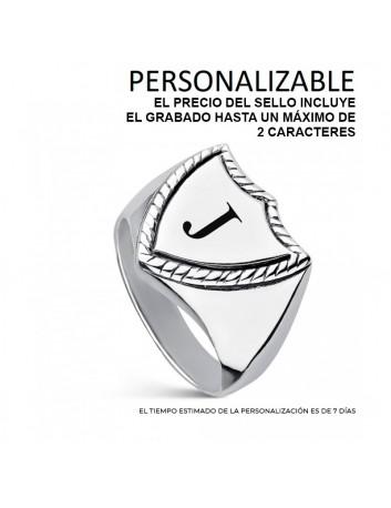 Sello Plata Hombre 9111283 Escudo Liso Hueco